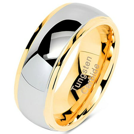 Tungsten Rings For Men Women Wedding Band Two Tones Gold Silver Engagement Size 6-16 With Half Sizes Available (Szul Engagement Rings Men Band)