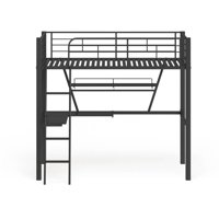 Silver and Black Twin Loft Bed with Desk