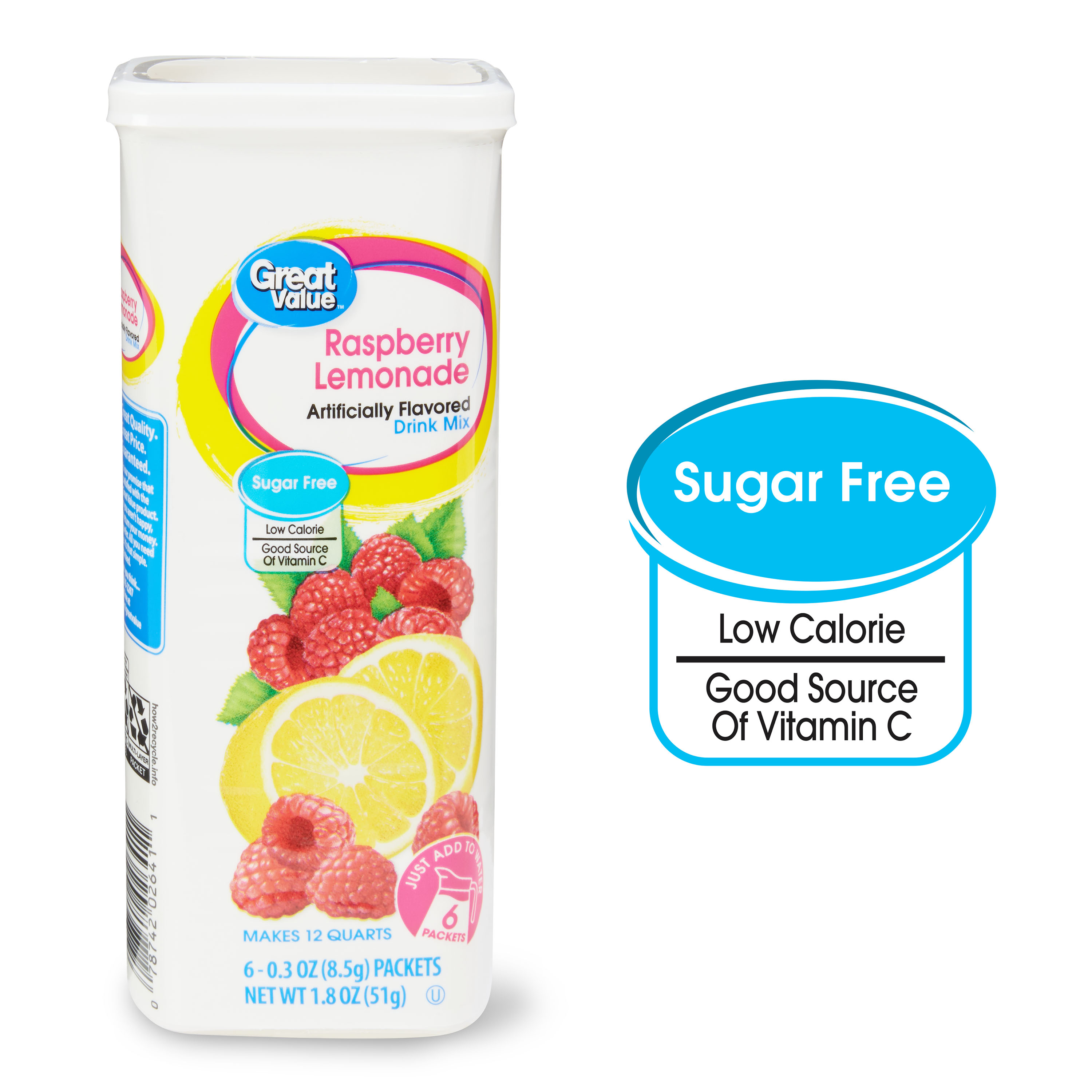 Great Value Sugar Free Drink Mix Raspberry Lemonade 0 30 Oz 6
