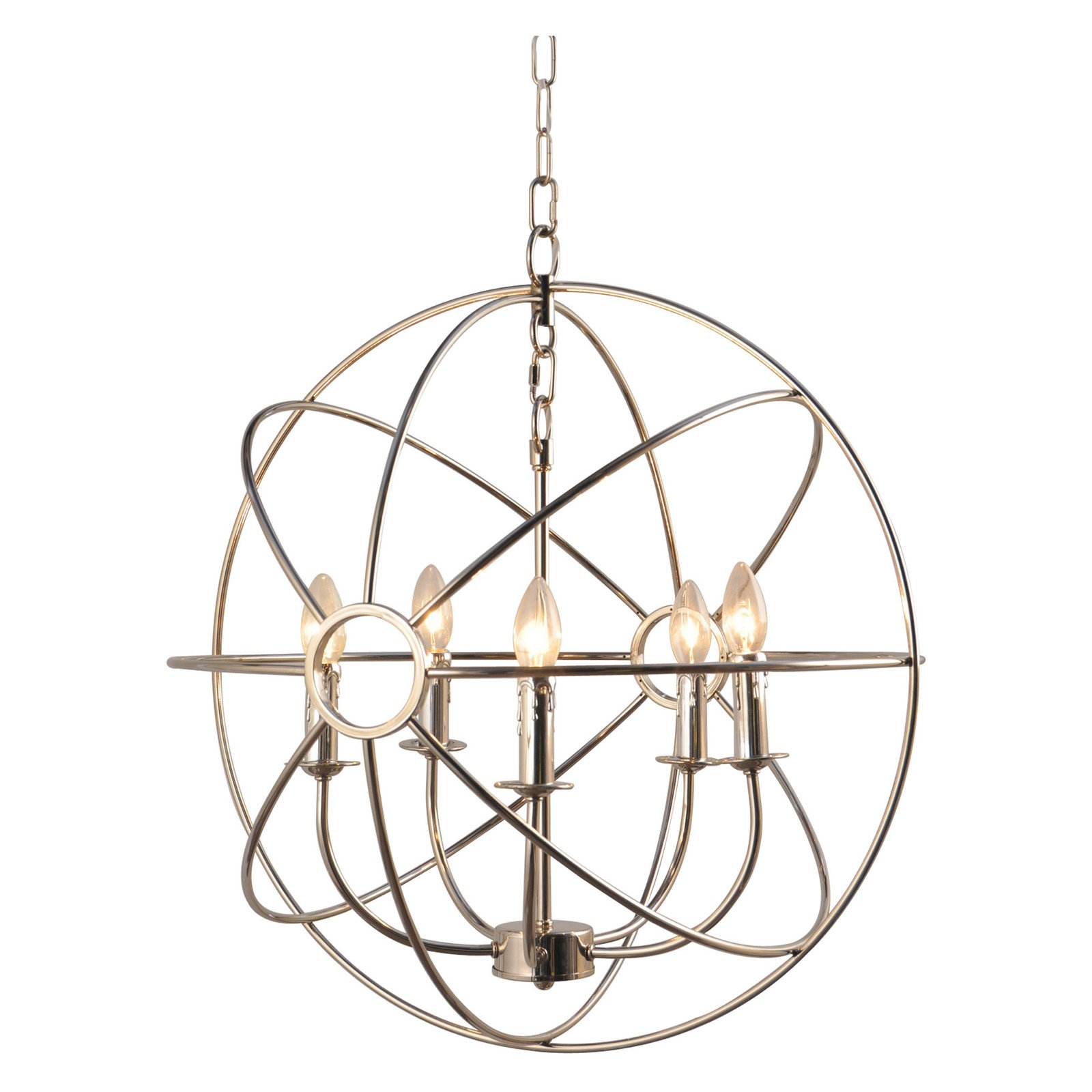 Yosemite Home Decor Shooting Star 5-Light Mini Chandelier - 23.6W in. - nickel-plated Finish