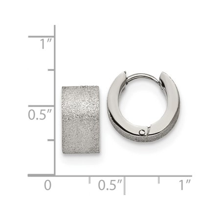 Stainless Steel Polished and Sand Blasted 7.0mm Hinged Hoop Earrings (13x13) - image 2 of 3