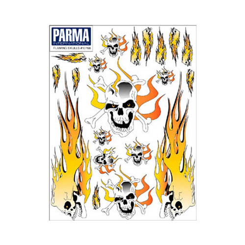"10768 Flaming Skulls Decal 6x8"" Multi-Colored"