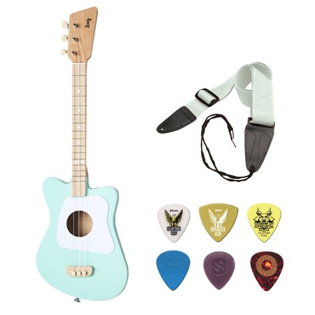 Loog Mini Acoustic Guitar 3-String Guitar, Green with GSA10WT Guitar Strap and Guitar Pick Assortment 6-Pack Bundle