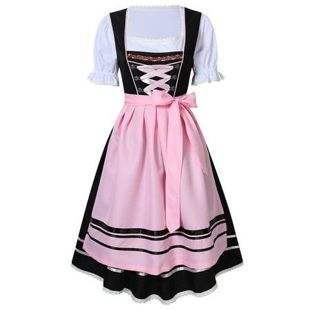 6a8eec34b3c1e Redcolourful - Bavarian Oktoberfest Women s Midi Dirndl Dress 3-Pieces+Apron +Blouse - Walmart.com
