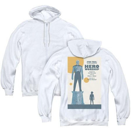 Trevco Sportswear CBS2127BK-AZH-4 Star Trek & TNG Season 5 Episode 11 Back  Print Adult Zipper Hoodie, White - Extra Large