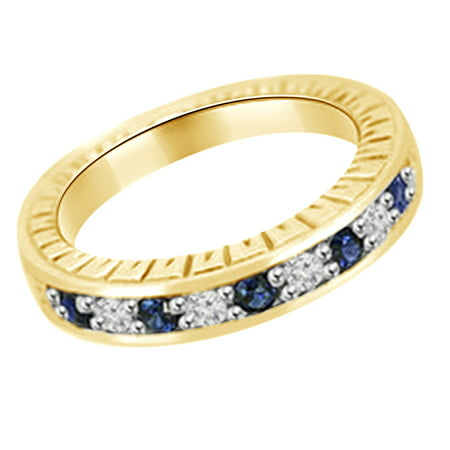 (0.35 cttw) Simulated Blue Sapphire & White Natural Diamond Antique Style Wedding Band Ring In 14k Yellow Gold