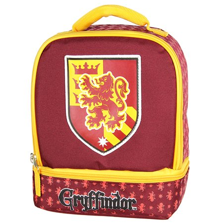 Harry Potter Lunch Box - Gryffindor, Slytherin, Ravenclaw, Hufflepuff Insulated Dual Compartment Tote (Harry Potter Sword Of Gryffindor Replica For Sale)