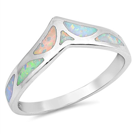 Sterling Silver Women's White Simulated Opal Wide Mosaic Thumb Chevron Ring (Sizes 4-10) (Ring Size 10) - Opal Mosaic Sterling Ring