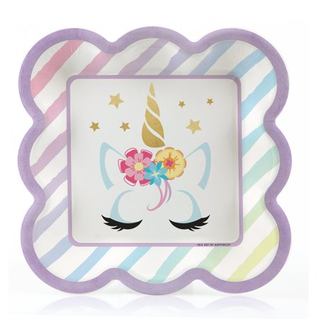 Unicorn with Gold Foil - Magical Rainbow Unicorn Baby Shower or Birthday Party Dessert Plates (16 Count)](Rainbow Unicorn Birthday Party Supplies)