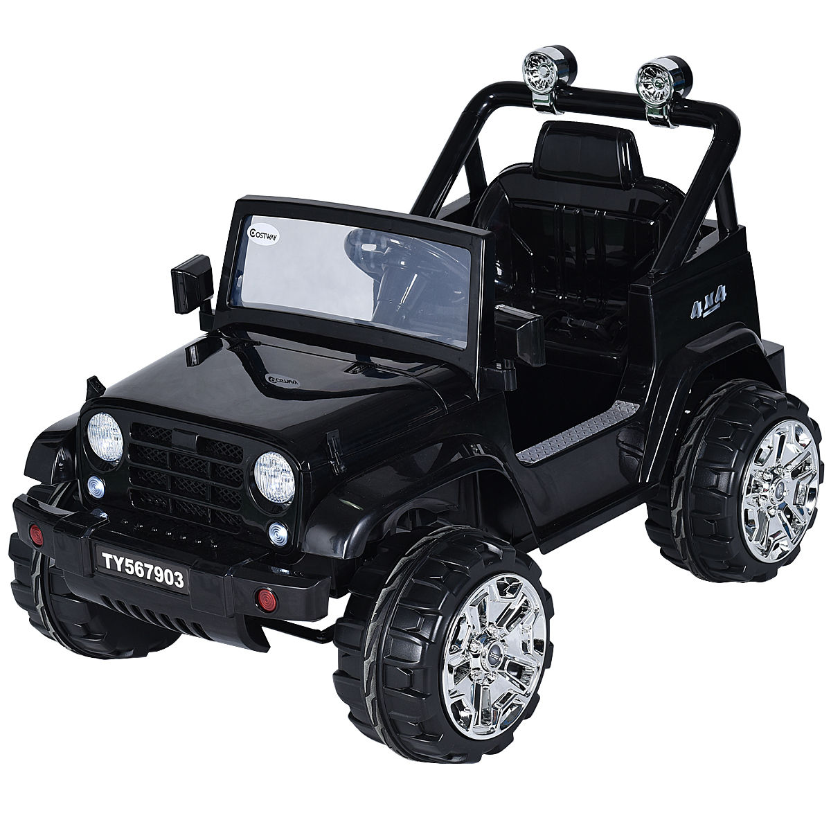 Costway 12V Kids Ride on Truck Jeep Car RC Remote Control w  LED Lights Music MP3 Black by Costway