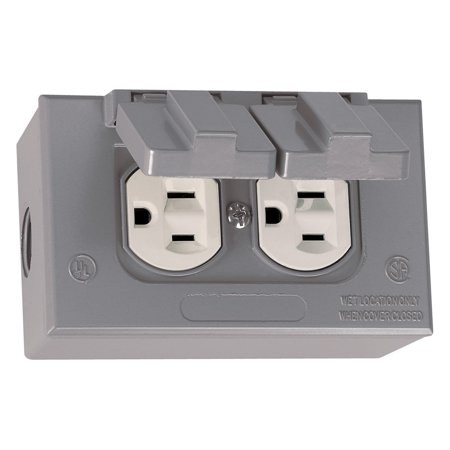 16446 Kit of Rectangular Box, Cover and TRWR Duplex Receptacle, Grey, Die Cast Construction By Sigma Electric