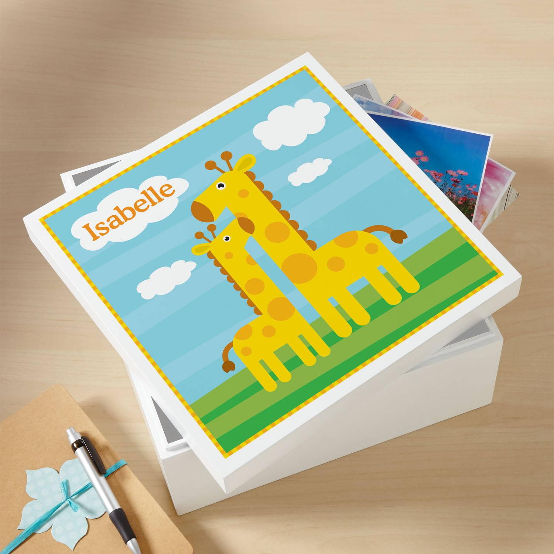 """Personalized Giraffe 12 """" Baby Keepsake Box"""