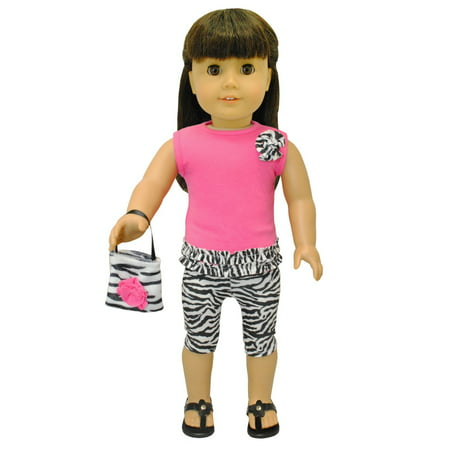 Doll Clothes - Zebra Leggings & Purse Fits American Girl 18