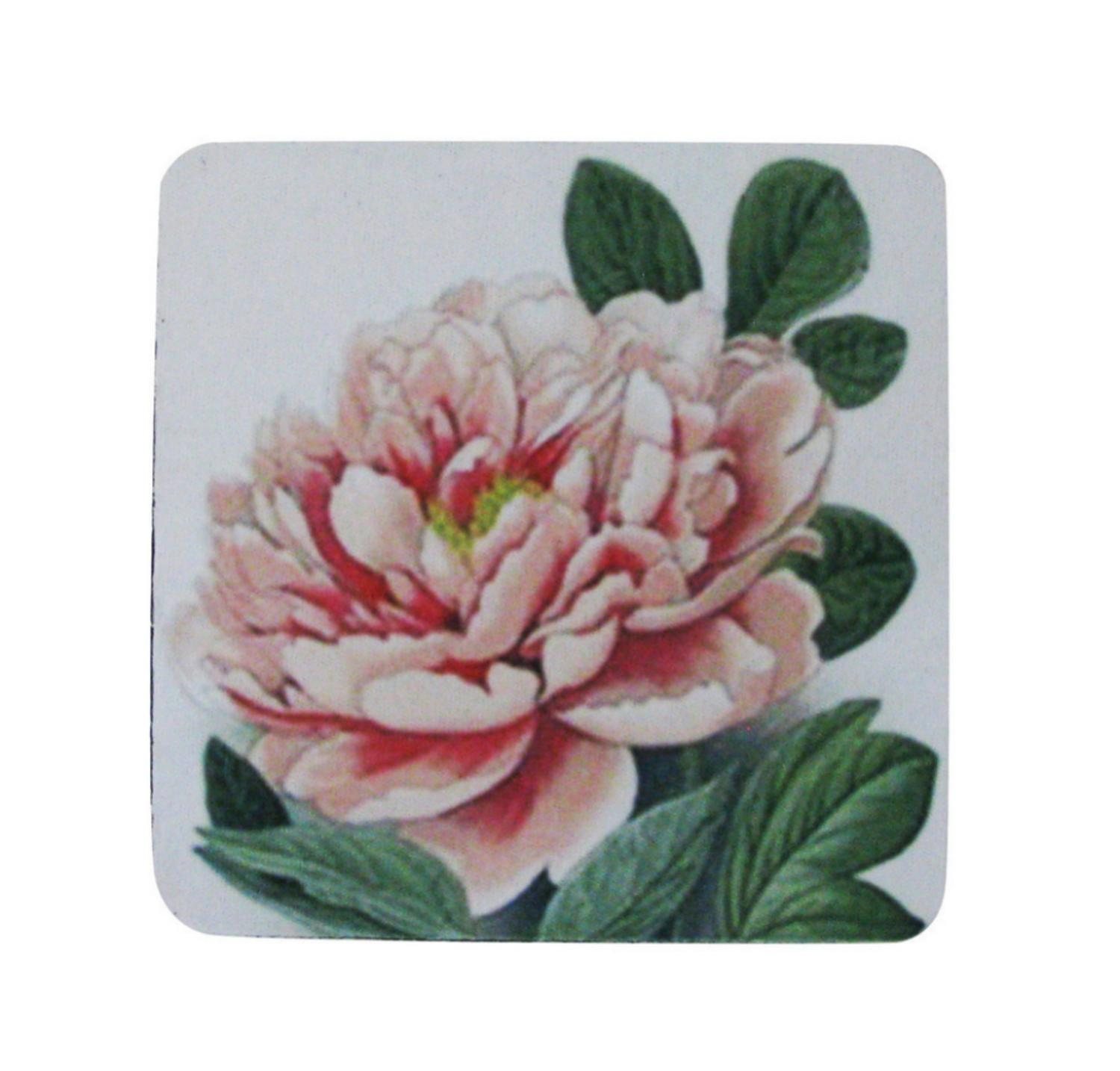 Pack of 8 Antique Style Botanical Pink Peony Print Cocktail Drink Coasters 4""