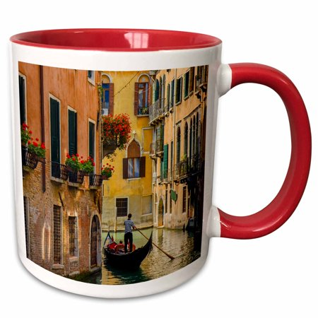 3dRose Gondola on a canal in Venice, Italy. - Two Tone Red Mug, 11-ounce (Italian Gondola Driver)