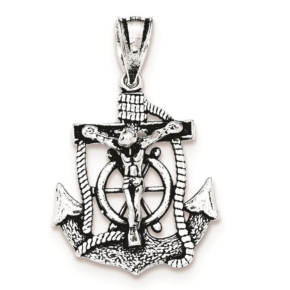 925 SS Antiqued Mini Mariner INRI Crucifix Polished Flat-back Charm Pendant
