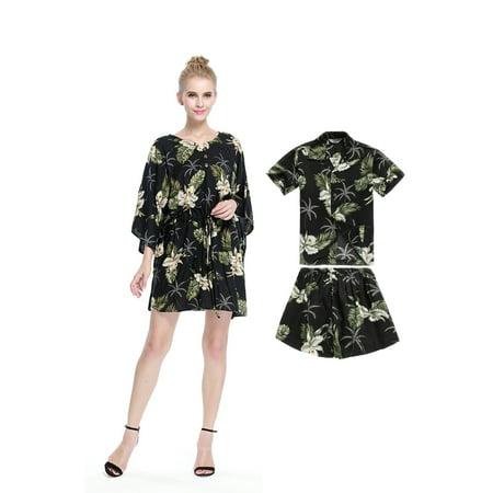 8112e2c3c406 Hawaii Hangover - Matching Mother Son Hawaiian Luau Outfit Poncho Dress  Shirt in Palm Green in Black Women One size Boy 10 - Walmart.com