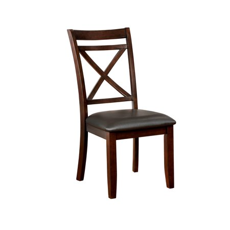 Leatherette Upholstered Solid Wood Side Chair, Pack of Two, Dark Cherry Brown and Black