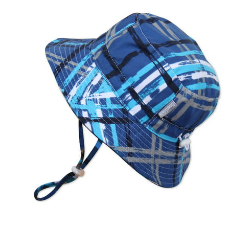Baby Lobster Hat (Baby 50+ UPF Sun Protection Bucket Hat With Chin Strap, Size Adjustable Aqua Dry ( S: 0 - 6m, Blue Plaid)