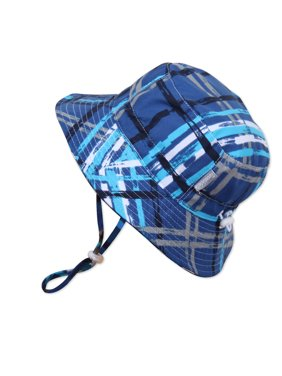 Baby 50+ UPF Sun Protection Bucket Hat With Chin Strap, Size Adjustable Aqua Dry ( S: 0 - 6m, Blue Plaid )
