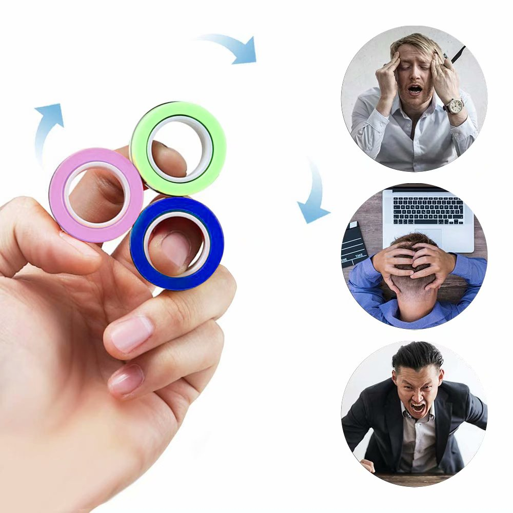 Stress Relief Magnetic Finger Spinner Rings Unzip Toy Magic Props Tricks Ring