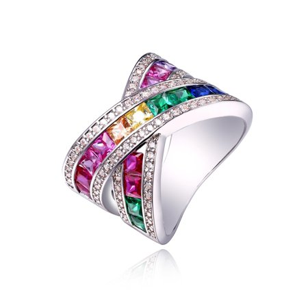 18K White Gold Plated & Rainbow Spinel X Ring