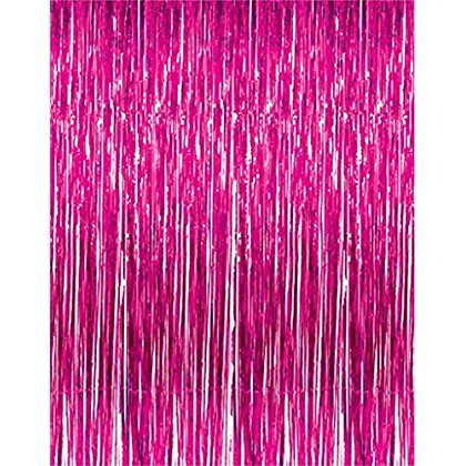 2 PACK 3' x 8' Fuschia Foil Fringed - For Door, Window, Curtain, Wall Decoration, Party Accessory, Parties, Special Events, & Backdrop - Kidsco