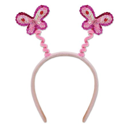 Club Pack of 12 Pink Sequined Butterfly Boppers Party Favors