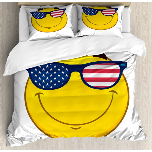 Smile Duvet Cover Set Cheerful Emoji Face Character With Usa Flag Sunglasses Decorative Bedding Set With Pillow Shams Night Blue Dark Pink Yellow Dark Brown By Ambesonne Walmart Com Walmart Com