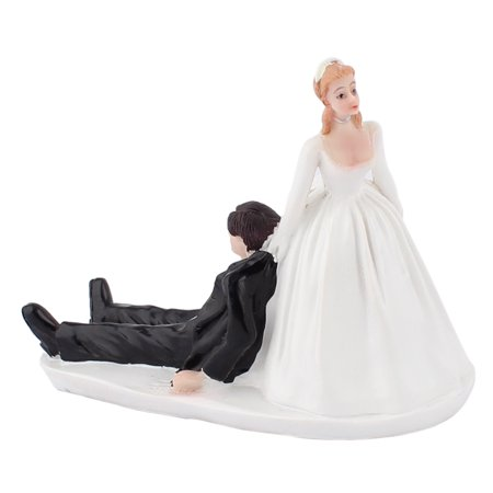 Bride Pulling The Drunk Groom Humor Figurine Wedding Cake Topper Decoration Gift