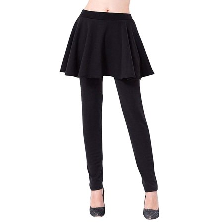 Peach Couture Womens Warm Thick Fur Lined Legging Skirt Leggings - Skirted Legging
