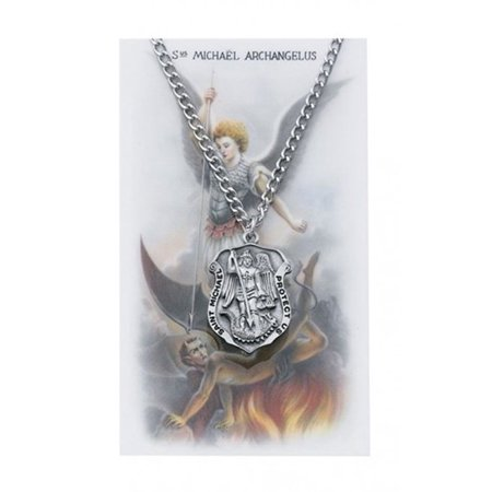 Pewter Saint Michael Police Badge Shaped Medal Pendant with Prayer Card, 1 Inch