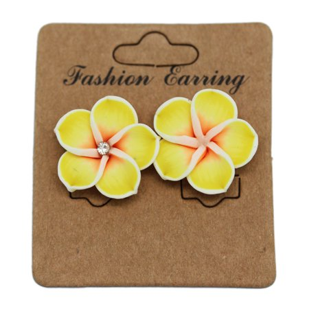 Yellow and White Hawaiian Orchid Tropical Flower Fashion Earrings