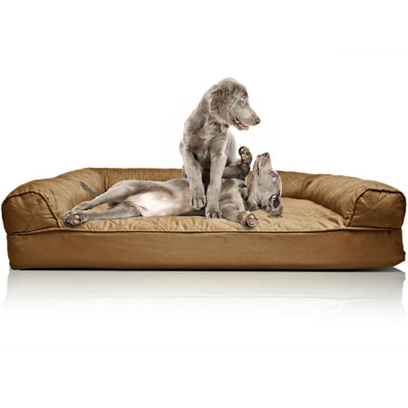 FurHaven Pet Dog Bed | Orthopedic Quilted Sofa-Style Couch Pet Bed for Dogs & Cats, Toasted Brown,