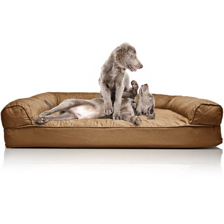 Heated Rectangular Pet Bed (FurHaven Pet Dog Bed | Orthopedic Quilted Sofa-Style Couch Pet Bed for Dogs & Cats, Toasted Brown,)