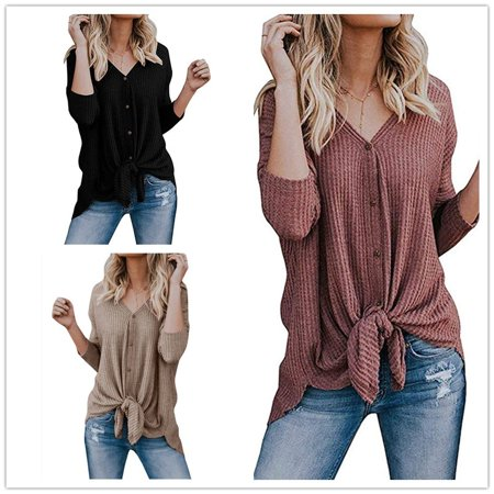 Womens Knit Cardigan Tunic Blouse Tie Knot Henley Tops Loose Fitting Bat Wing Basic Plain Shirts (Loose Fitting)