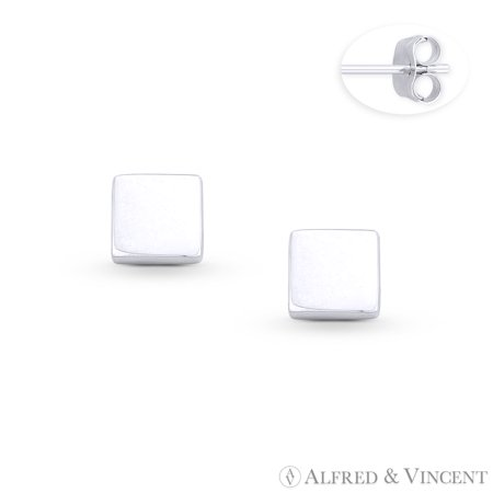 6mm Classic Flat Square Stud Earrings w/ Push-Back Posts in .925 Sterling Silver 6 Mm Flat Stud
