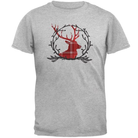 Buck Deer Antlers Plaid Mens T Shirt