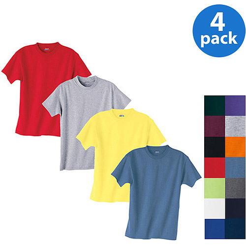 Hanes - Boys' Short-Sleeve Beefy Tees Value Bundle, 4-Pack