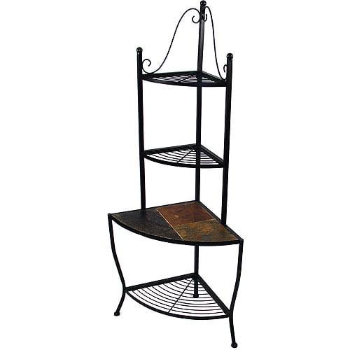 Corner Bakers Rack with Slate Shelf