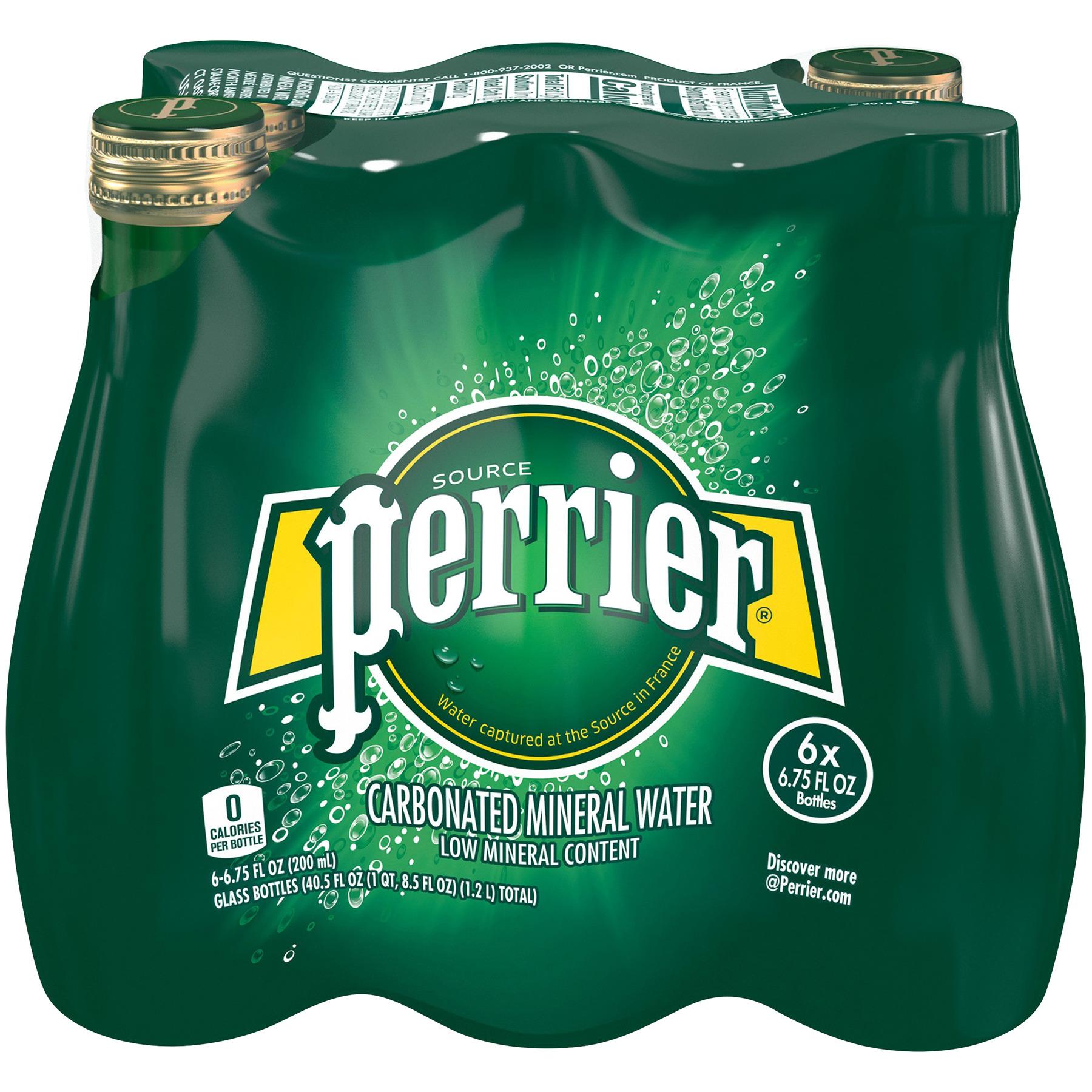 PERRIER Carbonated Mineral Water 6-6.75 fl. oz. Bottles, 6.75 FL OZ