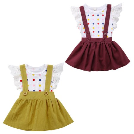 Pretty Newborn Baby Girl Polka Dot Romper Princess Party Dress Skirt Outfits Set](Pretty Party Outfits)