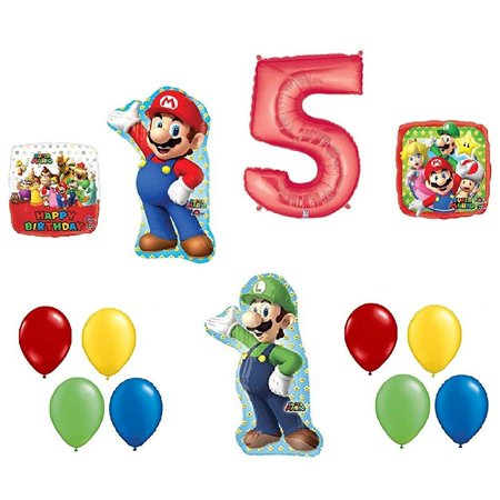 5 5th Birthday Super Mario Brothers Mega 13 Piece Foil Mylar and Latex Balloons Party Decoration Set - Mario Brothers Decorations