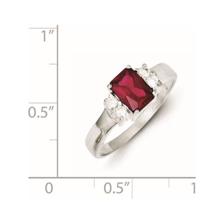 Sterling Silver Red & White CZ Ring - image 1 of 2