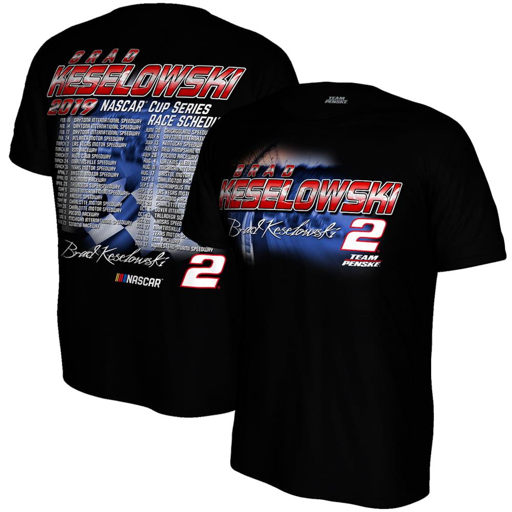 Brad Keselowski Team Penske 2019 NASCAR Cup Series Schedule T-Shirt - Black