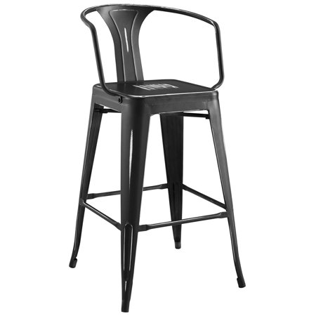 Black Weathered Cottage Pub - Industrial Country Cottage Farm Beach House Bar Pub and Dining Kitchen Bar Side Stool Chair, Metal Steel, Black