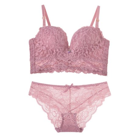 ebb75fc8ba Babula - Babula Women Fine Embroidery Full Cup Lace Push Up Bra Panties Sets  - Walmart.com