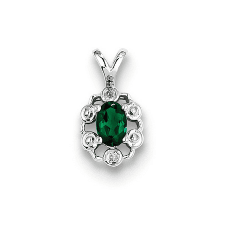 925 Sterling Silver Created Emerald and Diamond 4-Prong Oval Cut Charm Pendant - 9x15MM