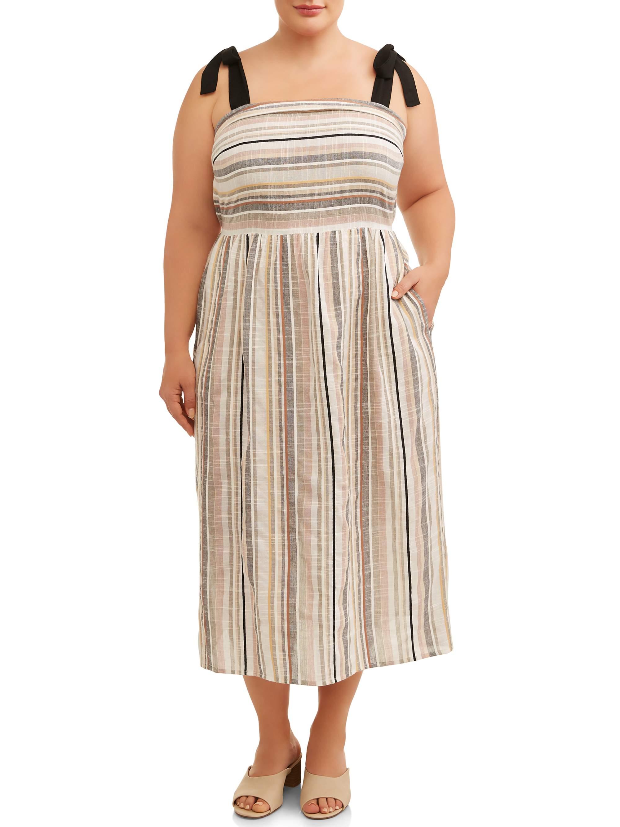 Women's Plus Size Neutral Stripe Midi Dress with Tie Sleeves