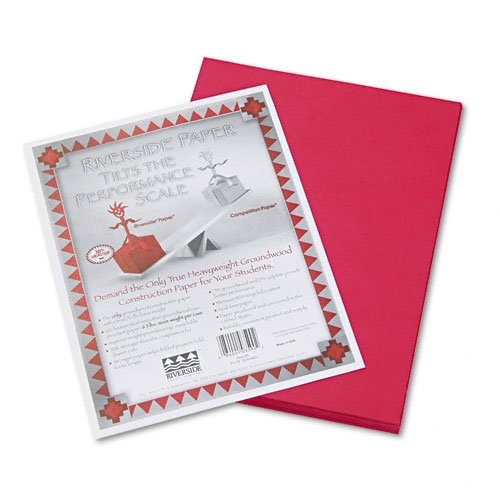 100% Recycled Construction Paper - 9 x 12 inches - Pack of 50 - Red, Sold as a Pack of 50 Sheets By Riverside